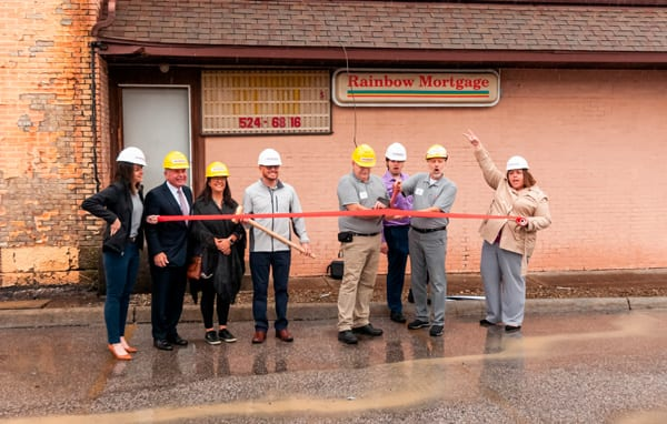 No demolition is complete without an official ribbon cutting ceremony, Participants from left to right: Chelsie Taylor-Thompson, Renaissance President, Rand Smith, Annamarie Fernyak, Jason Guilliams, Little Buckeye Board Chair, Fred Boll, Kyle Miller, Mike Miller, Jodie Perry.