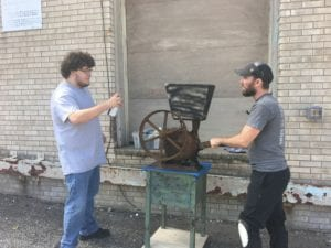 "The ""meat grinder"" being painted for the set. It is some sort of motor from an old windmill."