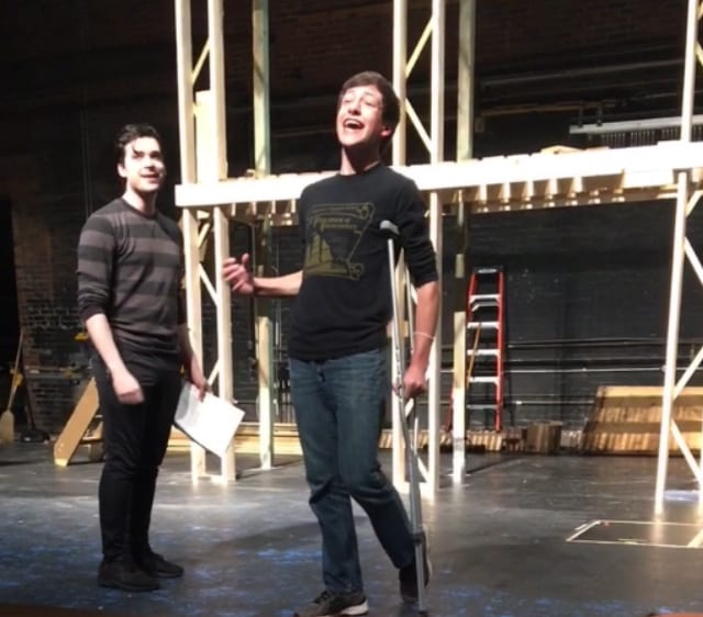 Ryan Shreve (Jack Kelly) and Jaren Baer (Crutchie) in an early blocking rehearsal.